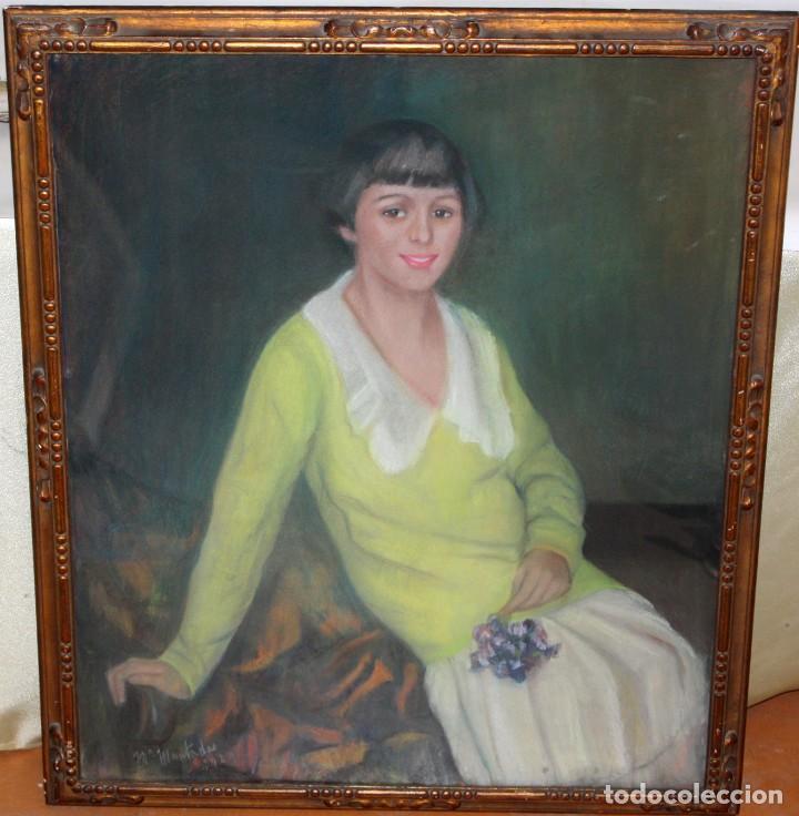Arte: MARIA MUNTADAS DE CAPARÁ (Barcelona, 1890 - 1965) TECNICA MIXTA SOBRE TELA FECHADO DE AÑO 1927 - Foto 2 - 149840266