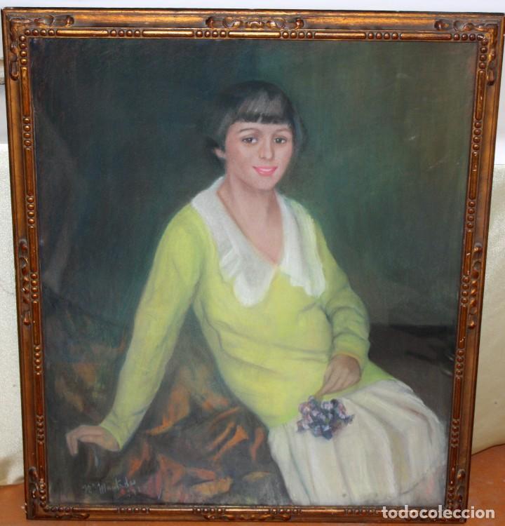 Arte: MARIA MUNTADAS DE CAPARÁ (Barcelona, 1890 - 1965) TECNICA MIXTA SOBRE TELA FECHADO DE AÑO 1927 - Foto 3 - 149840266