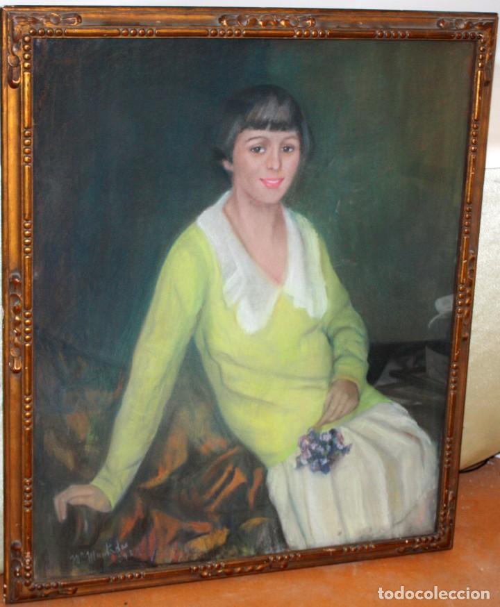 Arte: MARIA MUNTADAS DE CAPARÁ (Barcelona, 1890 - 1965) TECNICA MIXTA SOBRE TELA FECHADO DE AÑO 1927 - Foto 4 - 149840266