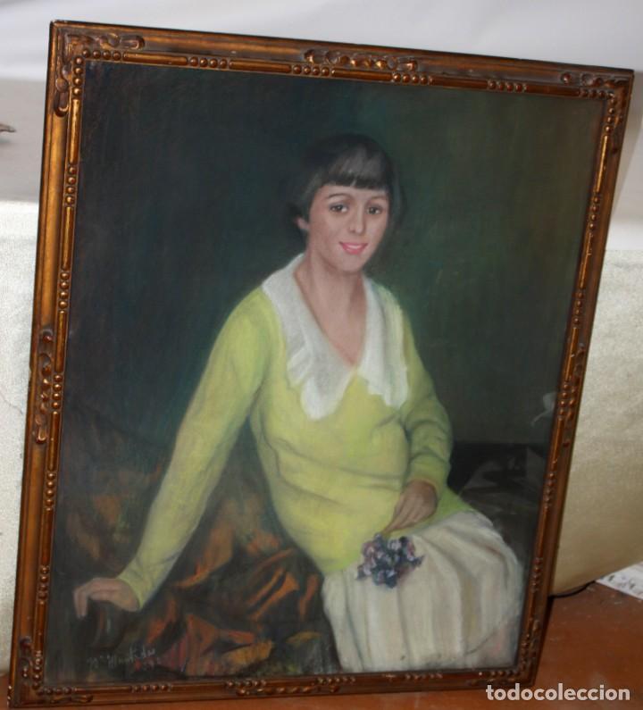 Arte: MARIA MUNTADAS DE CAPARÁ (Barcelona, 1890 - 1965) TECNICA MIXTA SOBRE TELA FECHADO DE AÑO 1927 - Foto 5 - 149840266