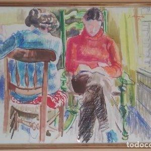 Ignasi Mundó i Marcet (1918 - 2012) Original firmado 1974 enmarcado 100 cm. x 69 cm.