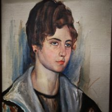 Arte: TOMAS MARMANEU JOVER, CASTELLÓN (1892-1945) RETRATO DE MUJER, OLEO SOBRE LIENZO. DIFICIL!. Lote 149892804