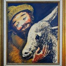 Arte: CHE DURAN, PRECIOSA PINTURA VINTAGE SANCHO PANZA Y SU BORRICO.. Lote 150125394