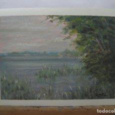 Arte: VISTA DEL LLAC - PINTURA AL ÓLEO SOBRE PAPEL LIENZO. Lote 150140630