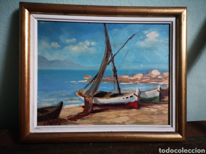 OLEO SOBRE TABLA, MARINA, PUEBLO PESQUERO, FIRMADO Y ENMARCADO. 28X23CM (Arte - Pintura - Pintura al Óleo Contemporánea )