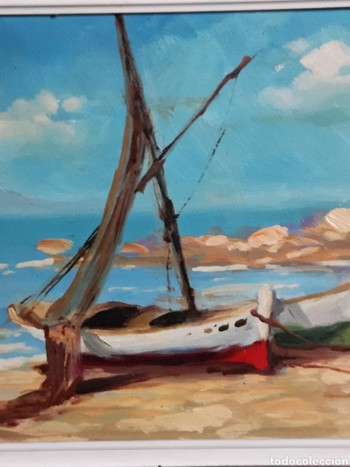 Arte: OLEO SOBRE TABLA, MARINA, PUEBLO PESQUERO, FIRMADO Y ENMARCADO. 28X23cm - Foto 3 - 150151108