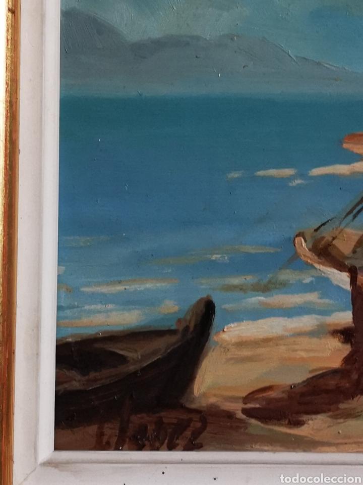 Arte: OLEO SOBRE TABLA, MARINA, PUEBLO PESQUERO, FIRMADO Y ENMARCADO. 28X23cm - Foto 2 - 150151108