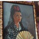 Arte: OLEO SOBRE LIENZO MUJER CON LA MADROÑERA. Lote 150299094
