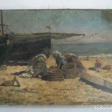 Arte: INTERESANTE PINTURA AL OLEO FIRMADA - MARINA BARCAS EN PLAYA - S. XIX . A RESTAURAR. Lote 150464422