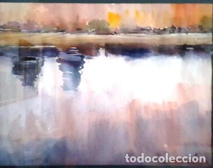 Arte: CUADRO ACUARELA - PAISATGE AMB BARQUES - DE JOSEP MARFA GUARRO BARCELONA - Foto 2 - 150705334