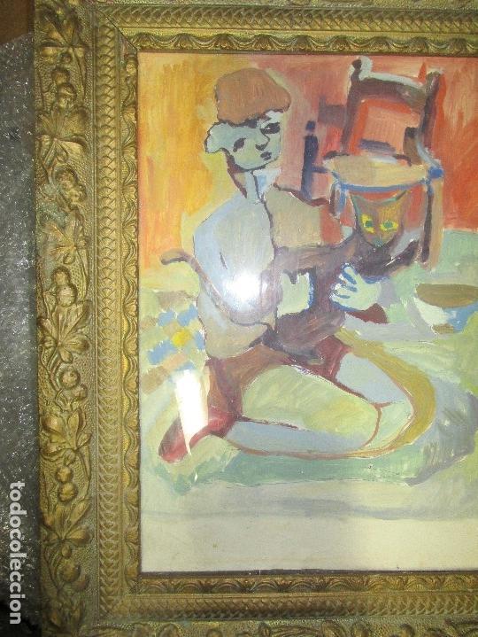 Arte: antigua pintura oleo pintado EN CARTON ADQUIRDO EN MALAGA ATRIBUIDO A S. TORRES NARVAEZ CIRCA 1965 - Foto 4 - 150852862