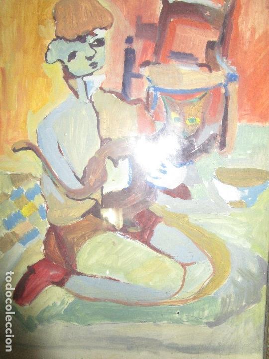 Arte: antigua pintura oleo pintado EN CARTON ADQUIRDO EN MALAGA ATRIBUIDO A S. TORRES NARVAEZ CIRCA 1965 - Foto 5 - 150852862