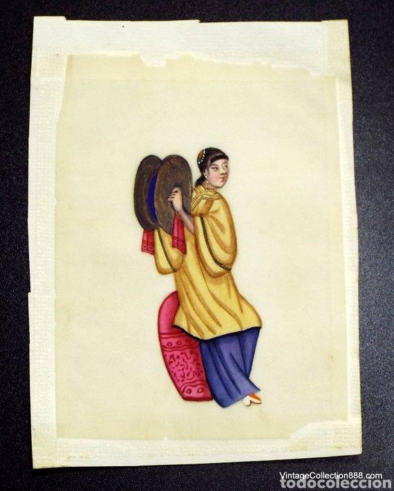 Arte: 3 Pinturas Chinas Siglo XIX de músicos en papel de arroz, papel de médula de Tin-Sin - 15x11cm - Foto 2 - 150946720