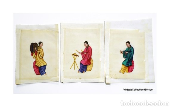 3 PINTURAS CHINAS SIGLO XIX DE MÚSICOS EN PAPEL DE ARROZ, PAPEL DE MÉDULA DE TIN-SIN - 15X11CM (Arte - Pintura - Pintura al Óleo Antigua siglo XVIII)