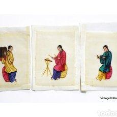 Arte: 3 PINTURAS CHINAS SIGLO XIX DE MÚSICOS EN PAPEL DE ARROZ, PAPEL DE MÉDULA DE TIN-SIN - 15X11CM. Lote 150946720