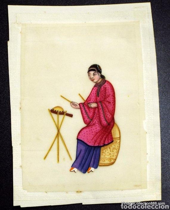 Arte: 3 Pinturas Chinas Siglo XIX de músicos en papel de arroz, papel de médula de Tin-Sin - 15x11cm - Foto 3 - 150946720