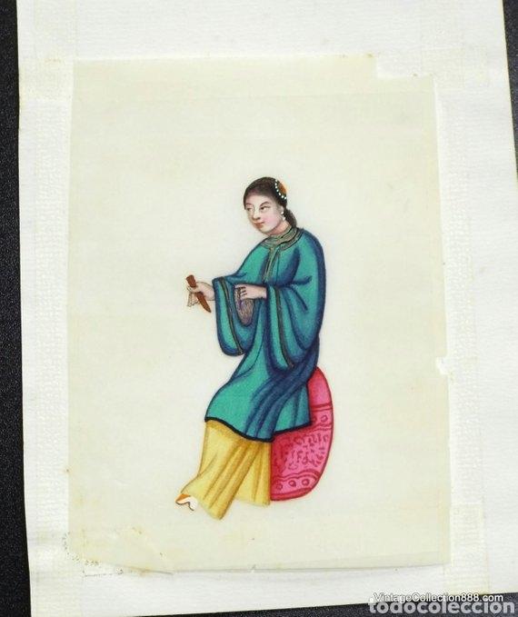 Arte: 3 Pinturas Chinas Siglo XIX de músicos en papel de arroz, papel de médula de Tin-Sin - 15x11cm - Foto 4 - 150946720