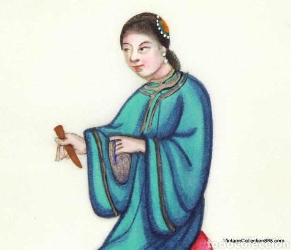 Arte: 3 Pinturas Chinas Siglo XIX de músicos en papel de arroz, papel de médula de Tin-Sin - 15x11cm - Foto 5 - 150946720