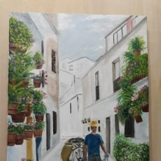 Arte: PAISAJE CALLE ANDALUZA. FRIGILIANA. LIENZO 55X33. . Lote 150950086