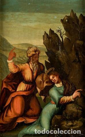 ÓLEO S/TABLA, SIGLO XVIII -ESCUELA ITALIANA-. DIMENSIONES.- 61.5X43 CMS, CON MARCO. (Arte - Pintura - Pintura al Óleo Antigua siglo XVIII)