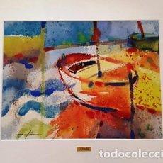Arte: CUADRO ACUARELA - BARQUES - JOSEP MARFA GUARRO - BARCELONA -. Lote 151043234