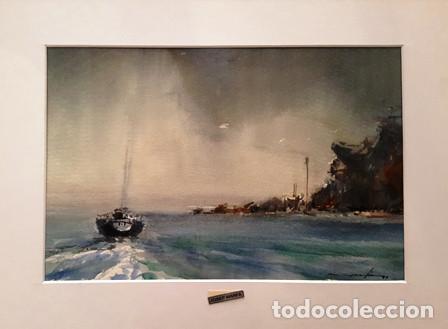 CUADRO ACUARELA - MARINA - JOSEP MARFA GUARRO - BARCELONA - (Arte - Pintura Directa del Autor)