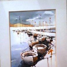 Arte: CUADRO ACUARELA - BARQUES - LLANÇA - JOSEP MARFA GUARRO - BARCELONA -. Lote 151050006