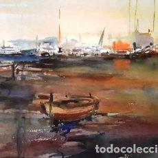 Arte: CUADRO ACUARELA - PORT - ANY 1990 - JOSEP MARFA GUARRO - BARCELONA -. Lote 151050222