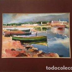 Arte: CUADRO ACUARELA - BARQUES - JOSEP MARFA GUARRO - BARCELONA -. Lote 151058546