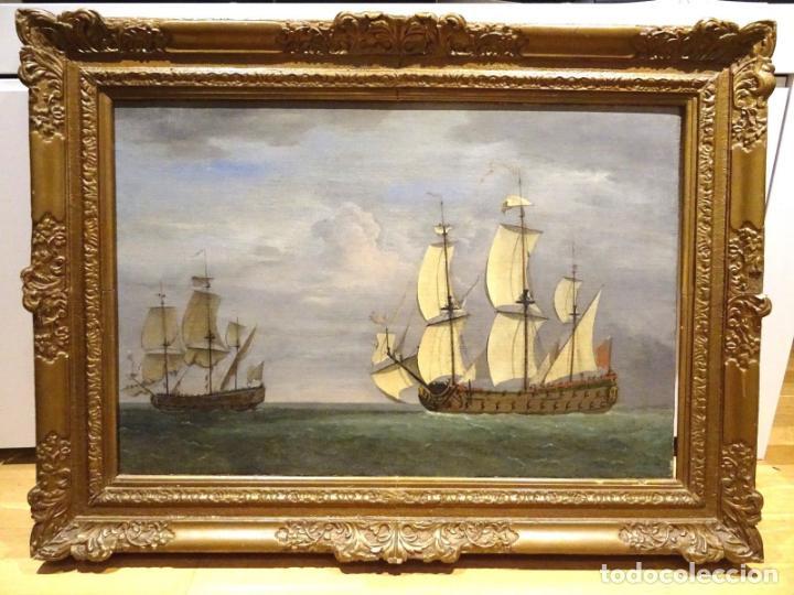 GRAN OBRA DE ARTE DEL SIGLO XVII ESCUELA DE WILLEM VAN DE VELDE (1633-1707) ALREDEDOR DE 1680 (Arte - Pintura - Pintura al Óleo Antigua siglo XVII)