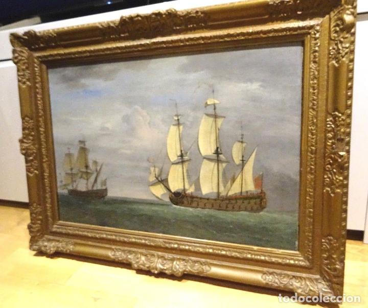 Arte: GRAN OBRA DE ARTE DEL SIGLO XVII ESCUELA DE WILLEM VAN DE VELDE (1633-1707) ALREDEDOR DE 1680 - Foto 2 - 151085914