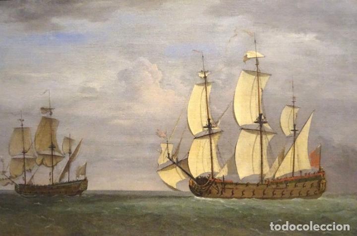 Arte: GRAN OBRA DE ARTE DEL SIGLO XVII ESCUELA DE WILLEM VAN DE VELDE (1633-1707) ALREDEDOR DE 1680 - Foto 3 - 151085914