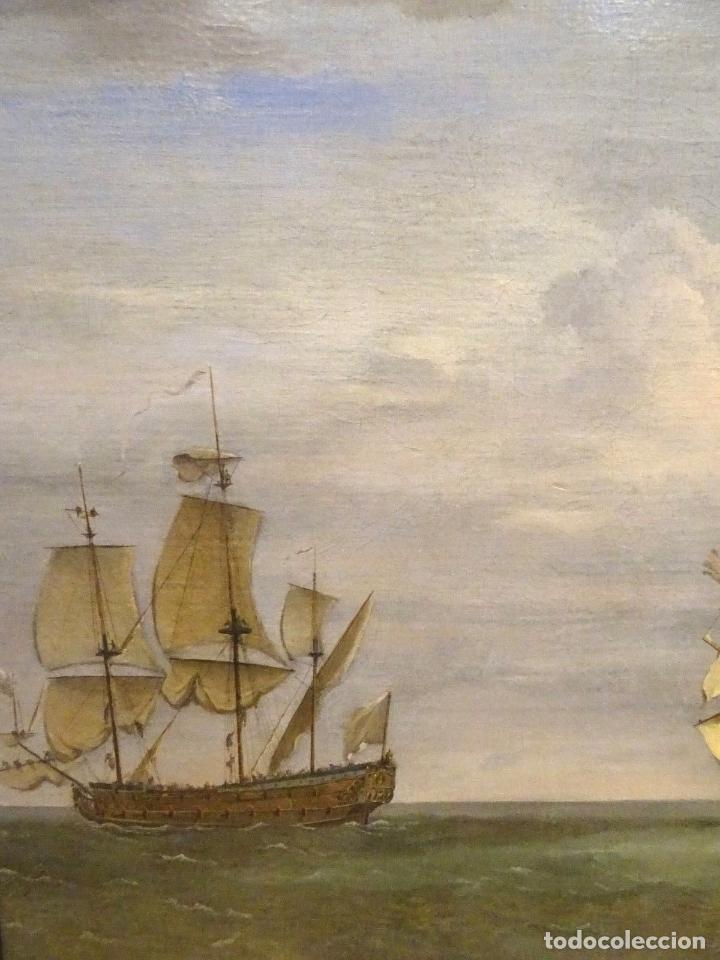 Arte: GRAN OBRA DE ARTE DEL SIGLO XVII ESCUELA DE WILLEM VAN DE VELDE (1633-1707) ALREDEDOR DE 1680 - Foto 4 - 151085914
