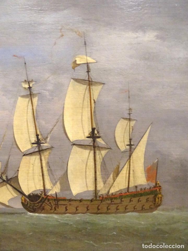 Arte: GRAN OBRA DE ARTE DEL SIGLO XVII ESCUELA DE WILLEM VAN DE VELDE (1633-1707) ALREDEDOR DE 1680 - Foto 5 - 151085914