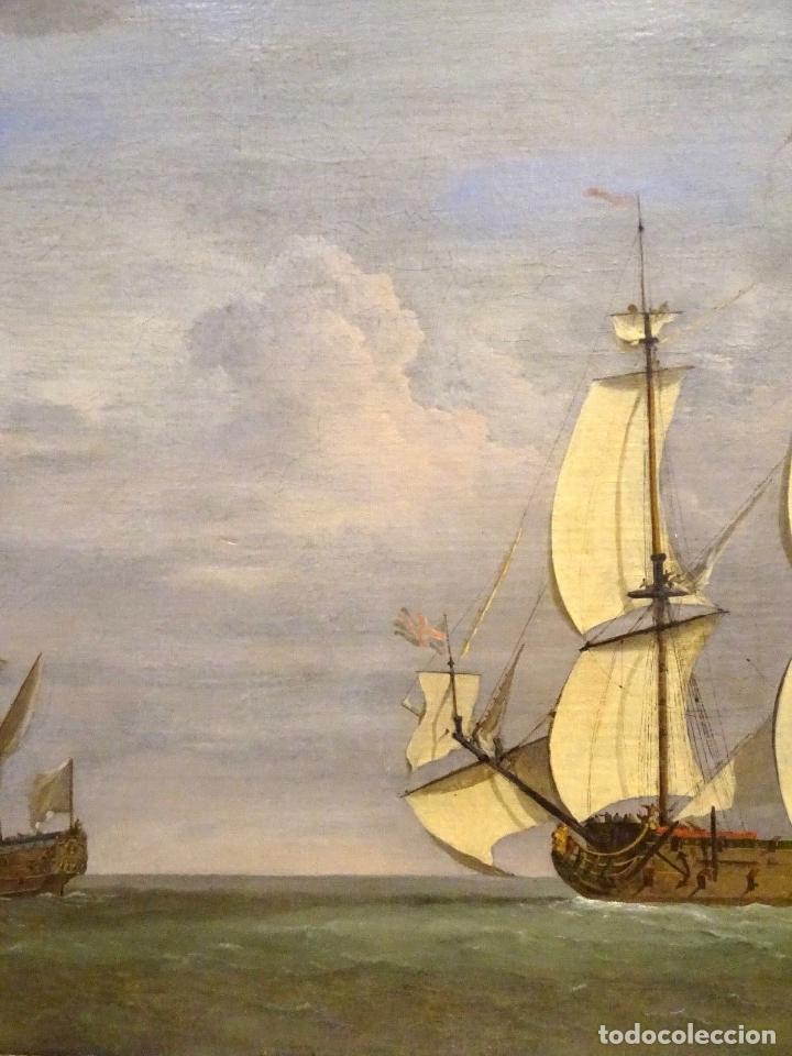 Arte: GRAN OBRA DE ARTE DEL SIGLO XVII ESCUELA DE WILLEM VAN DE VELDE (1633-1707) ALREDEDOR DE 1680 - Foto 7 - 151085914