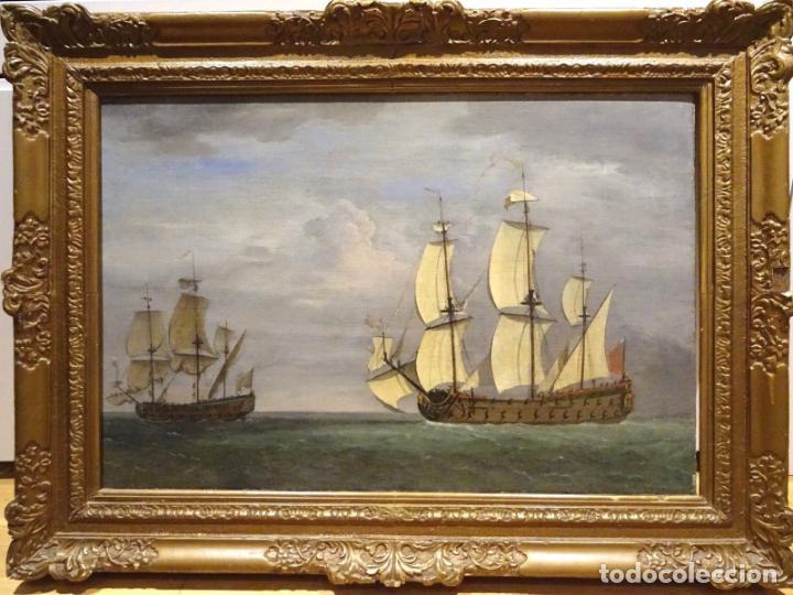 Arte: GRAN OBRA DE ARTE DEL SIGLO XVII ESCUELA DE WILLEM VAN DE VELDE (1633-1707) ALREDEDOR DE 1680 - Foto 12 - 151085914