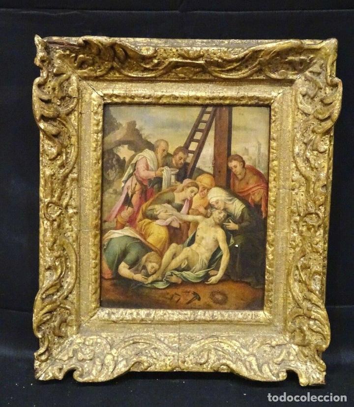 GRAN OBRA DE ARTE OLEO SOBRE TABLA DEL SIGLO XVI, MAESTRO ITALIANO, DESCENSO DE LA CRUZ, DE 1570/80 (Arte - Pintura - Pintura al Óleo Antigua siglo XVI)