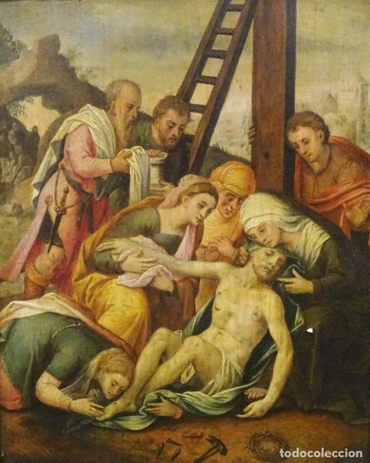 Arte: GRAN OBRA DE ARTE OLEO SOBRE TABLA DEL SIGLO XVI, MAESTRO ITALIANO, DESCENSO DE LA CRUZ, DE 1570/80 - Foto 4 - 151087914
