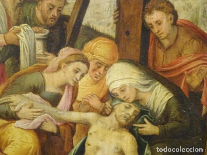 Arte: GRAN OBRA DE ARTE OLEO SOBRE TABLA DEL SIGLO XVI, MAESTRO ITALIANO, DESCENSO DE LA CRUZ, DE 1570/80 - Foto 5 - 151087914
