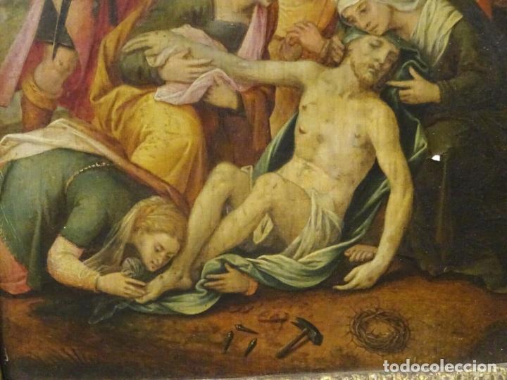 Arte: GRAN OBRA DE ARTE OLEO SOBRE TABLA DEL SIGLO XVI, MAESTRO ITALIANO, DESCENSO DE LA CRUZ, DE 1570/80 - Foto 7 - 151087914