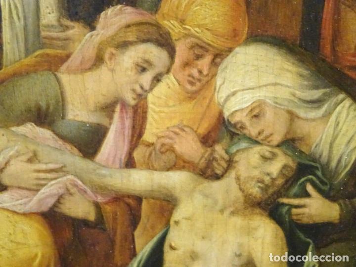Arte: GRAN OBRA DE ARTE OLEO SOBRE TABLA DEL SIGLO XVI, MAESTRO ITALIANO, DESCENSO DE LA CRUZ, DE 1570/80 - Foto 8 - 151087914