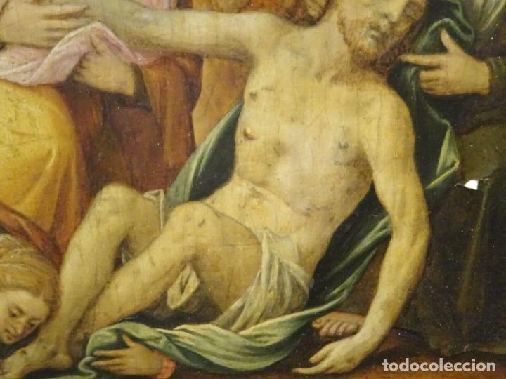 Arte: GRAN OBRA DE ARTE OLEO SOBRE TABLA DEL SIGLO XVI, MAESTRO ITALIANO, DESCENSO DE LA CRUZ, DE 1570/80 - Foto 10 - 151087914
