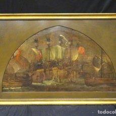 Arte: GRAN OBRA DE ARTE ESCUELA EUROPEA DEL SIGLO XV, OLEO SOBRE LIENZO, BATALLA NAVAL, ALREDEDOR DE 1460. Lote 151090882