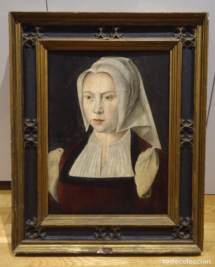 GRAN OBRA DE ARTE ATRIBUIDA A JOOS VAN CLEVE (1485-1540) RETRATO MUJER FLAMENCA, ALREDEDOR DE 1520 (Arte - Pintura - Pintura al Óleo Antigua siglo XVI)