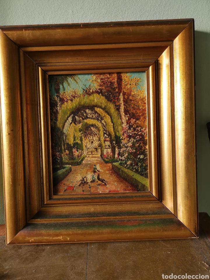M.LLANOS OLEO SOBRE LIENZO, PASEO CON PALOMAS, FIRMADO Y ENMARCADO (Arte - Pintura - Pintura al Óleo Contemporánea )