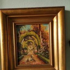 Arte: M.LLANOS OLEO SOBRE LIENZO, PASEO CON PALOMAS, FIRMADO Y ENMARCADO. Lote 151116793