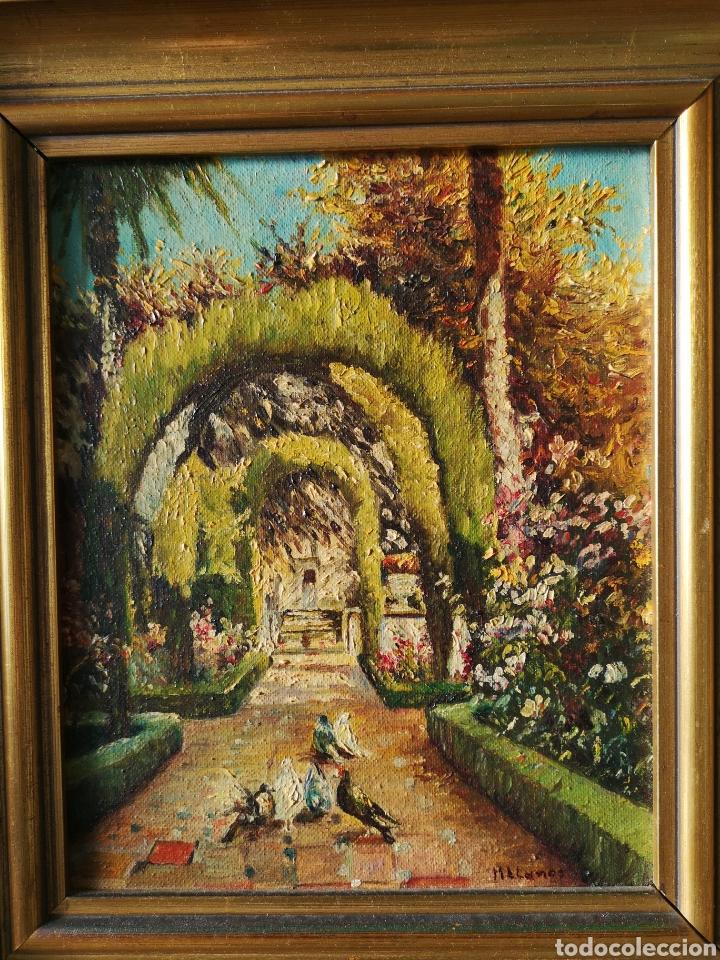 Arte: M.LLANOS OLEO SOBRE LIENZO, PASEO CON PALOMAS, FIRMADO Y ENMARCADO - Foto 2 - 151116793