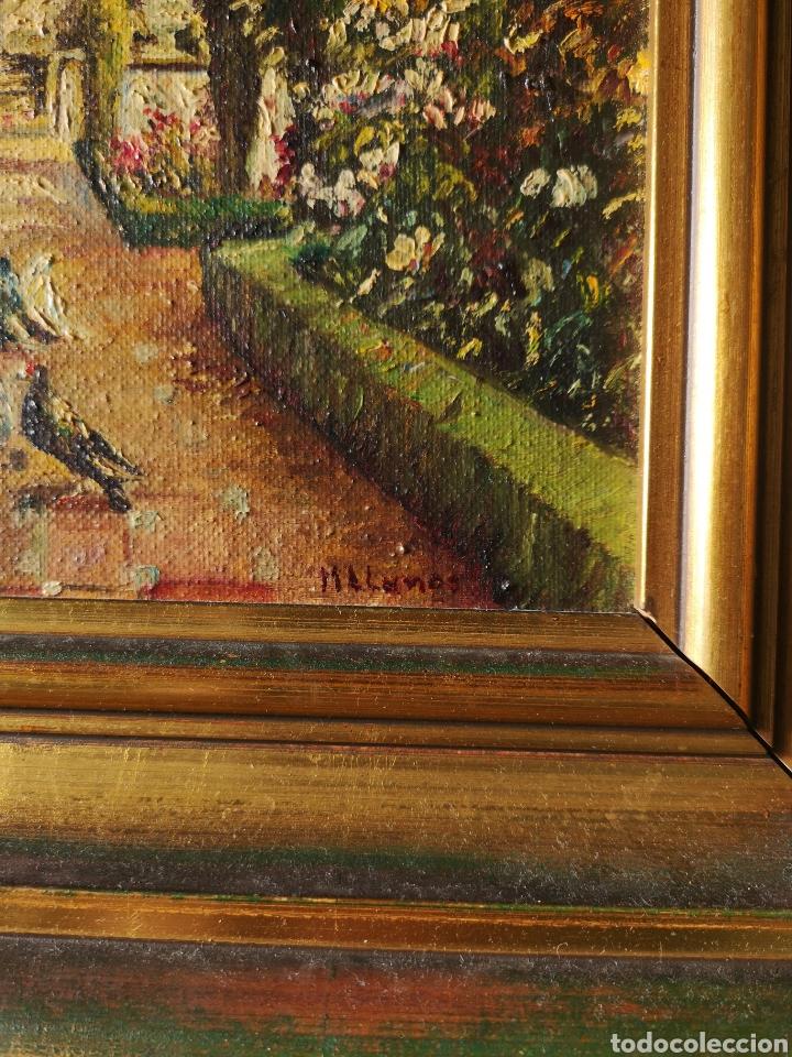 Arte: M.LLANOS OLEO SOBRE LIENZO, PASEO CON PALOMAS, FIRMADO Y ENMARCADO - Foto 3 - 151116793