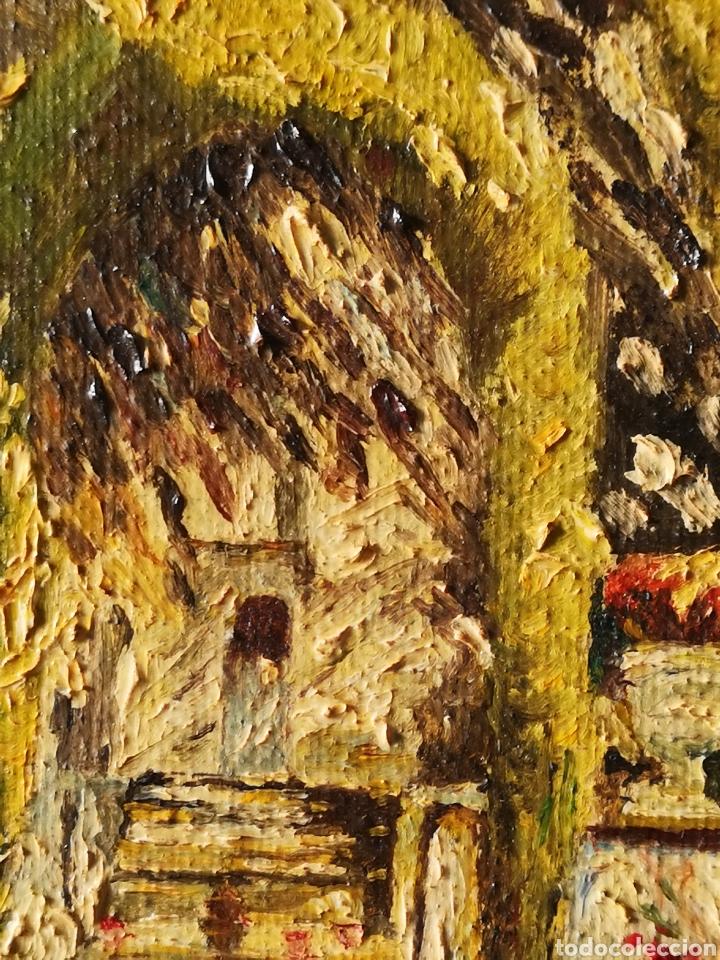 Arte: M.LLANOS OLEO SOBRE LIENZO, PASEO CON PALOMAS, FIRMADO Y ENMARCADO - Foto 4 - 151116793