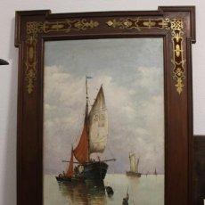Arte: GRAN MARINA HOLANDESA, PRINCIPIOS DEL SIGLO XIX. 143 X 64 CM. Lote 151137826